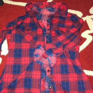 Tops - Red and blue plaid button up